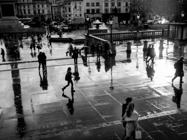 Trafalgar Square after the rain